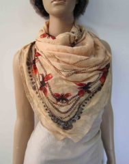 beige polyester woven scarf with sequins