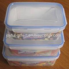 Transparent plastic food storage containers