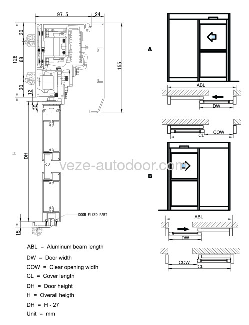 4 Sectional Diagram Of Frameless Glass Sliding Door Double Open