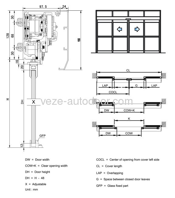 Automatic sliding door government project from china