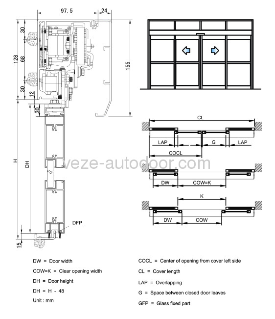 open double door drawing. 5) Sectional Diagram Of Frame Sliding Door (double Open) Open Double Drawing I