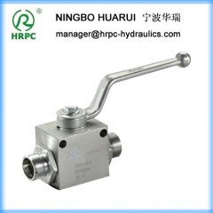 two way male threaded carbon steel ball valve with two mounting holes and drawing