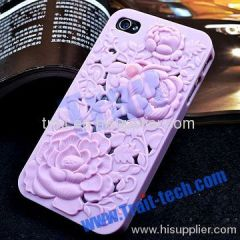 3D Design Relief Bloom Hard Case for iPhone 4 / iPhone 4S (Baby Purple)