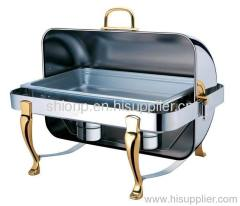 Oblong chafing dish with golden color legs