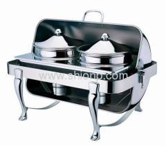 Oblong soup station with chrome leg