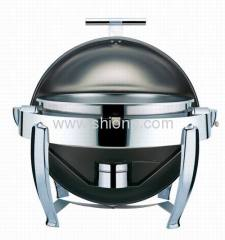 Round chafing dish with chrome leg