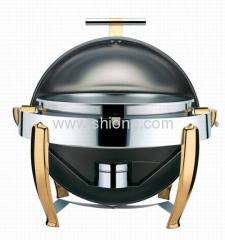 Round chafing dishes with golden leg