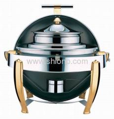 Round soup station with golden plated leg