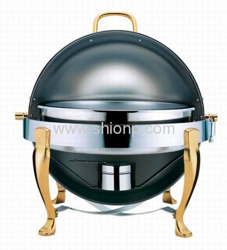 Round chafing dishes with legs