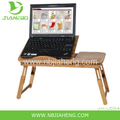 Adjustable Bamboo Laptop Table With Fan