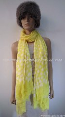 yellow acrylic woven scarf printed dot