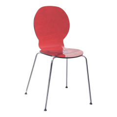 acrylic dining chair with chormed metal legs