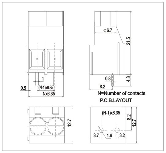 pcb electrical screw terminal blocks from china