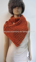 orange acrylic knitted snood