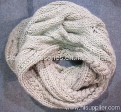 beige acrylic hand cable knitted snood