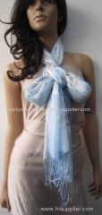 blue acrylic woven scarf printing animals