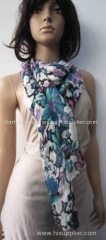multi color acrylic woven scarf, printing flowers