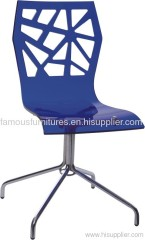 acrylic dining chair with chromed steel legs