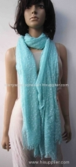 blue woven scarf, printed stars