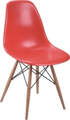 red classic wood base Eames DSR dining Chair