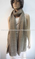 beige acrylic knitted scarf with sequins