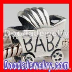 Wholesale european BABY Carriage Charms Silver