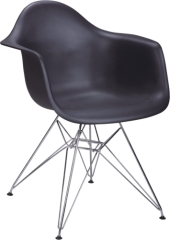 leisure morden plastic steel leg eames dining armchair reception furnitures