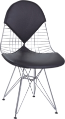 Black Eames Wire Chair Chromed Steel with PVC Cushion