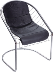 Chromed Steel and PVC Black Cushion Chair