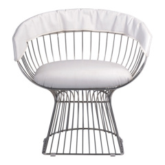 White Eames Wire Chair Chromed Steel with PVC Cushion