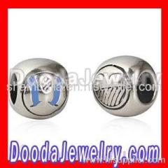 Silver Cheap european Smiley Face Charm Beads