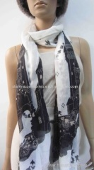 white and black polyester woven scarf