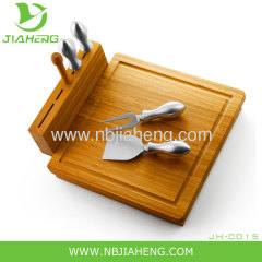Bamboo Cheese Board 4 Stainless Steel Cutting Tools And Hideaway Drawer