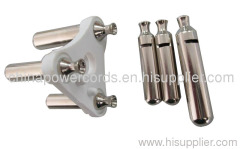 India 3-pin cable plug insert with hollow brass pins