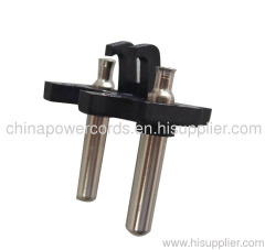 Two-pin power plug insert with hollow brass pins 10/16A 250V