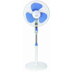 white-blue stand fan