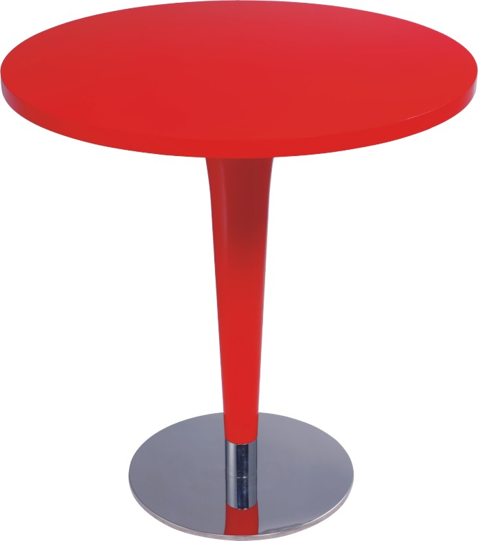 Red Round Dining Table: Modern Design Red Wooden Top Round Bar Table Dining