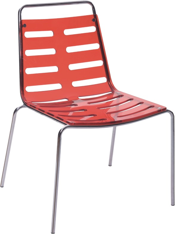 Fashion Hollow Red Crystal Acrylic Dining Chair Outdoor