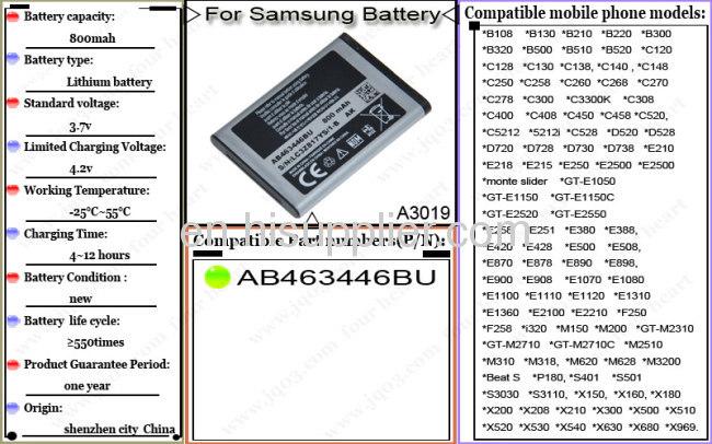 Battery For Samsung E900 Battery F250 Battery I320 Battery M2710 Battery E215 Battery P180