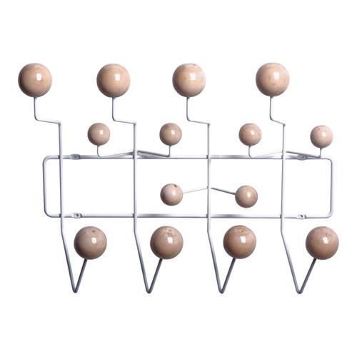 Modern Hanger For Clothes Welded Steel Wire Fame With Wooden Balls Coat Hangers