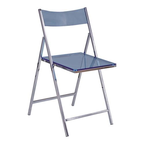 Chromed Steel With Acrylic Seat Folding Armless Chair