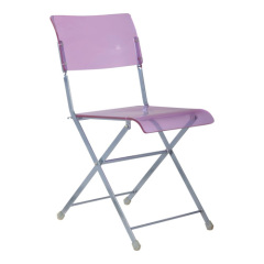 crystal purple Plastic Folding armless Chair