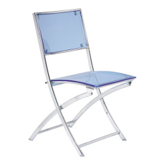 crystal blue folding armless chair with acrylic