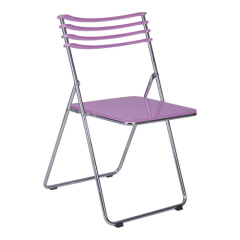 clear purple Acrylic Folding Chair in Steel