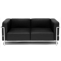 Knoll Genuine Leather black Living Room 3 Seater Sofa