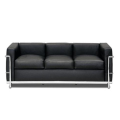 Le Corbusier black Armchair 3 seater sofa