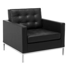 black genuine leather knoll single sofa