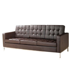 brown leather Florence Knoll Driezits sofa