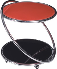 Wheeled red top Round Coffee Table