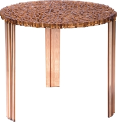 brown unusual round living room table